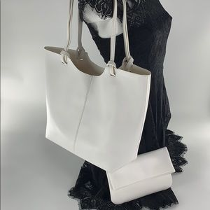 Neiman Marcus White Tote and matching Clutch